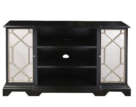 Dark Wood Mirrored Credenza : Amazon.com: pulaski p017141 black mirrored entertainment console