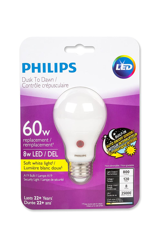 Philips 466573 led bulb 60w a19 dusk to dawn soft white 2700k philips 466573 led bulb 60w a19 dusk to dawn soft white 2700k led bulbs amazon canada parisarafo Images