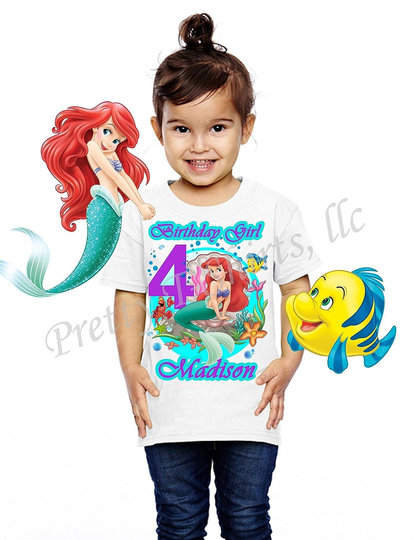 Children/'s Girls Personalised Birthday T-Shirt Little Mermaid Ariel