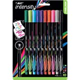 BIC Intensity Fineliner Fine Point Pens, 0.4mm – Set of 10 Markers – Assorted Colours, Bold Felt Tip, No Bleed for Writing, Adult Colouring