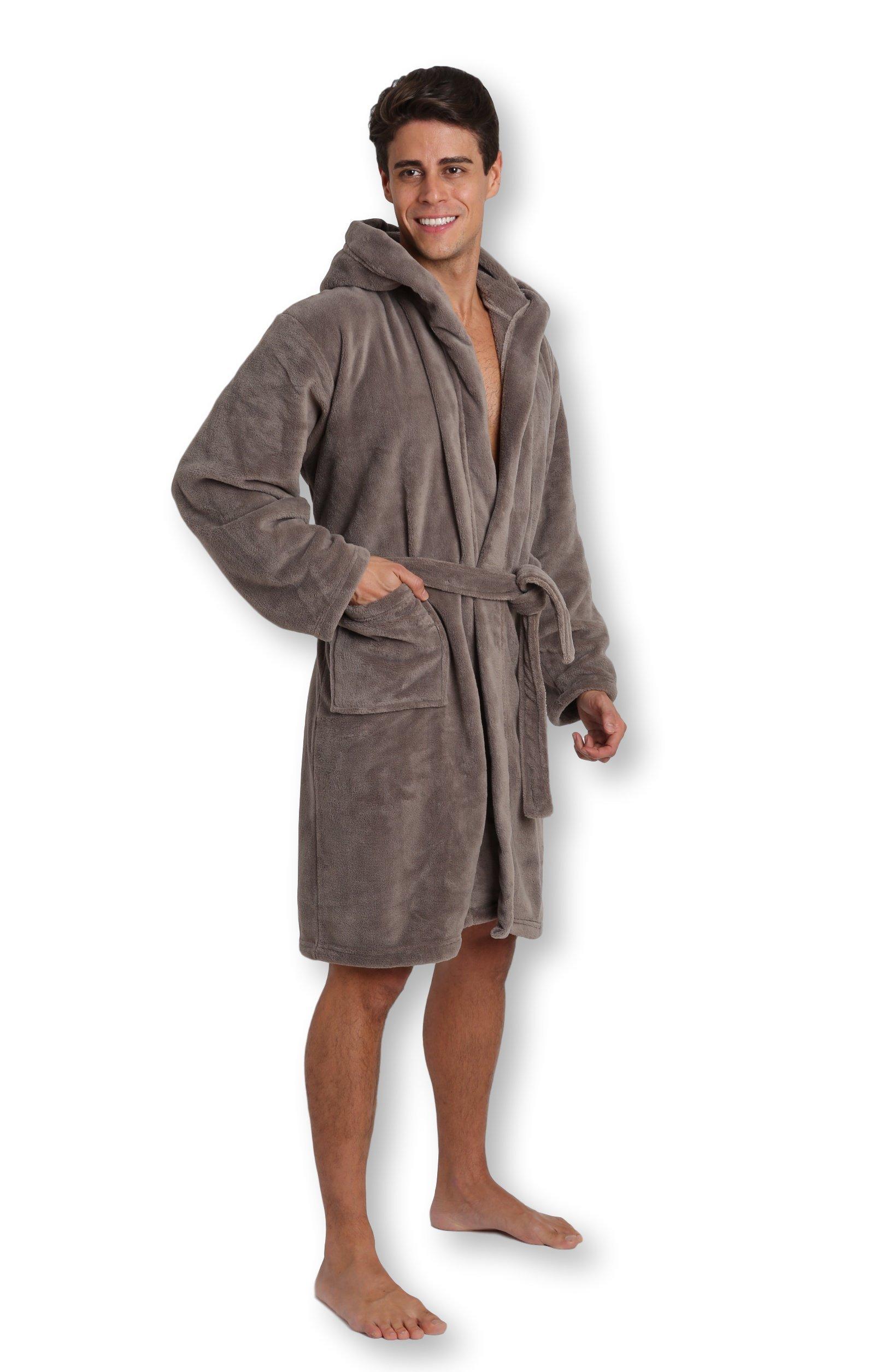 Pembrook Men's Robe with Hood – Gray - Size L/XL - Soft Fleece – Hotel Spa Bathrobe