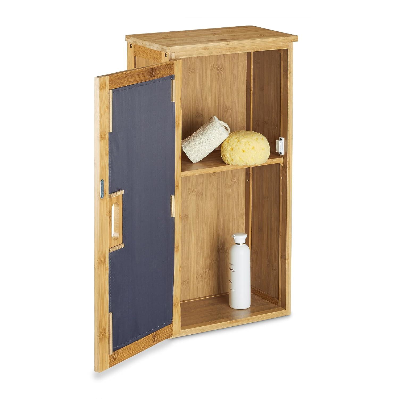 Badezimmerschrank bambus  Relaxdays Badezimmer Hängeschrank aus Bambus, 2 Ablagen mit ...