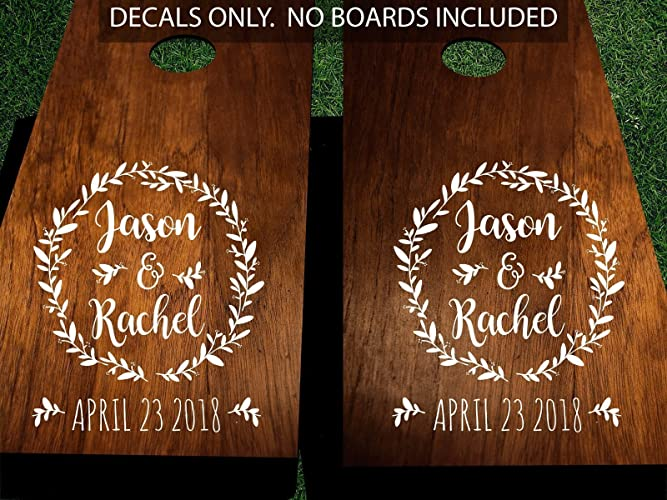 Amazon.com: Wedding Cornhole Decals, Personalized with Names and ...