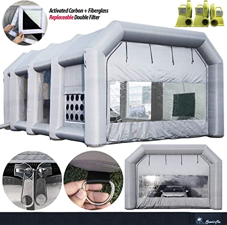 26x15x10ft LOVSHARE Inflatable Paint Booth Water-Resistent Car Paint Booth Tent PVC with Blower Inflatable Spray Booth with Air Filtration System for Car Polishing,Spray Paint Booth