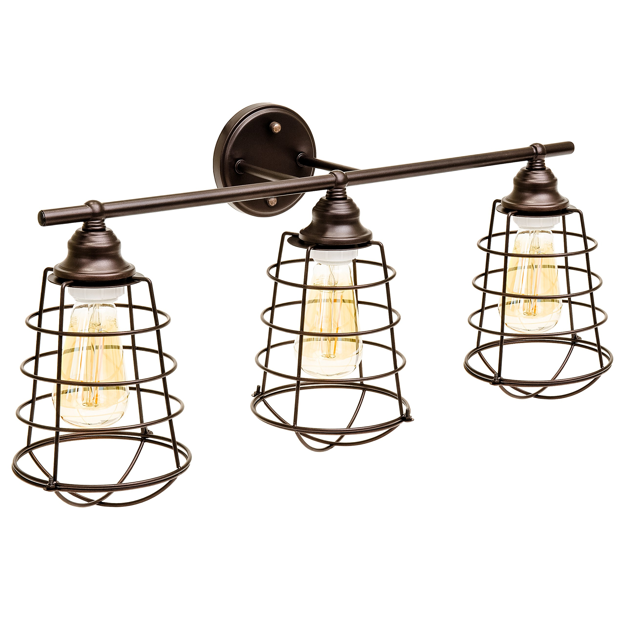 Best Choice Products Industrial Style, 3 Light, Bathroom Vanity Light Fixture (Bronze)