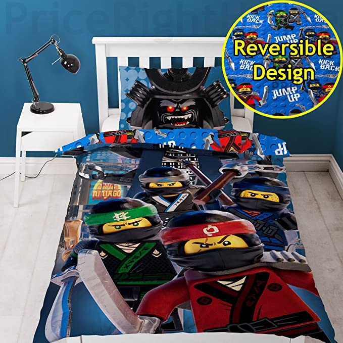 Lego Ninjago Movie Crew 2 Piece UK Single/US Twin Sheet Set, 1 x Double Sided Sheet and 1 x Pillowcase