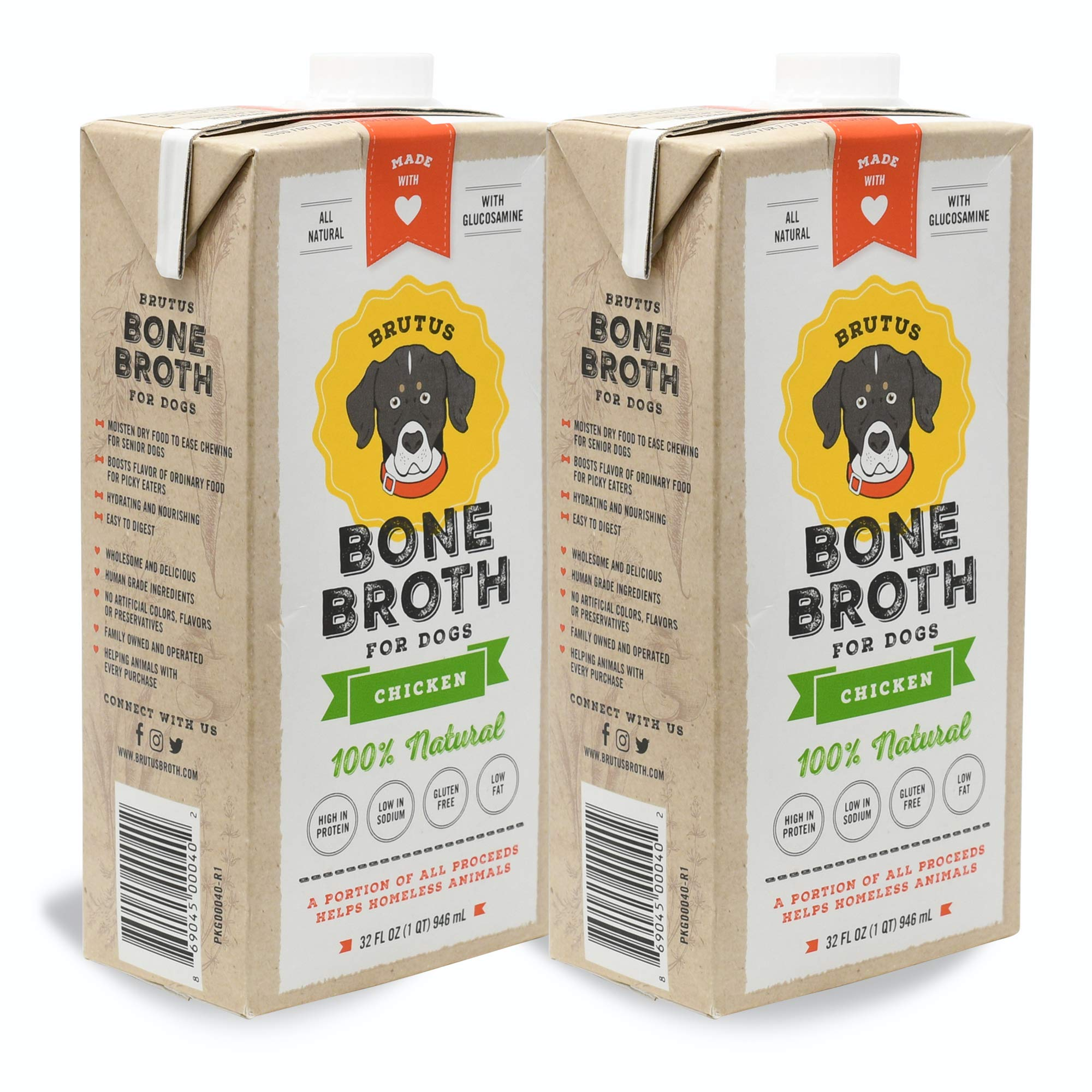Brutus Bone Broth for Dogs | Chicken 2-Pack (64 oz) Made in USA | Glucosamine & Chondroitin | Healthy Dog Joints | Puppies by Brutus