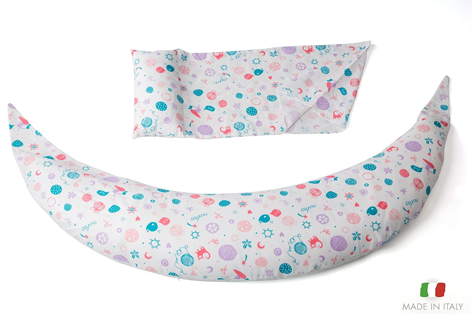 Breastfeeding and Nursing Pillow Made in Italy Nuvita 7100 DreamWizard Full Body Pregnancy Pillow and Maternity Pillow with Extra Back Support Lady White 100/% Cotton Washable Case