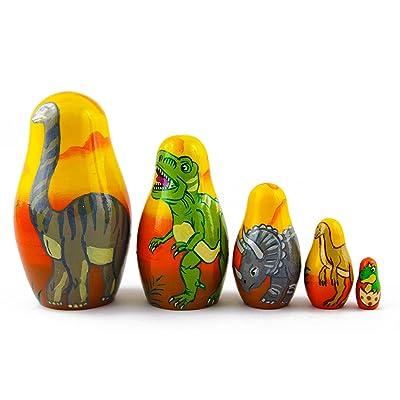Matryoshka Babushka Russian Nesting Wooden Doll Dinosaurs Prehistoric Epoch Babouska Matrioska Stacking 5 Pcs: Toys & Games