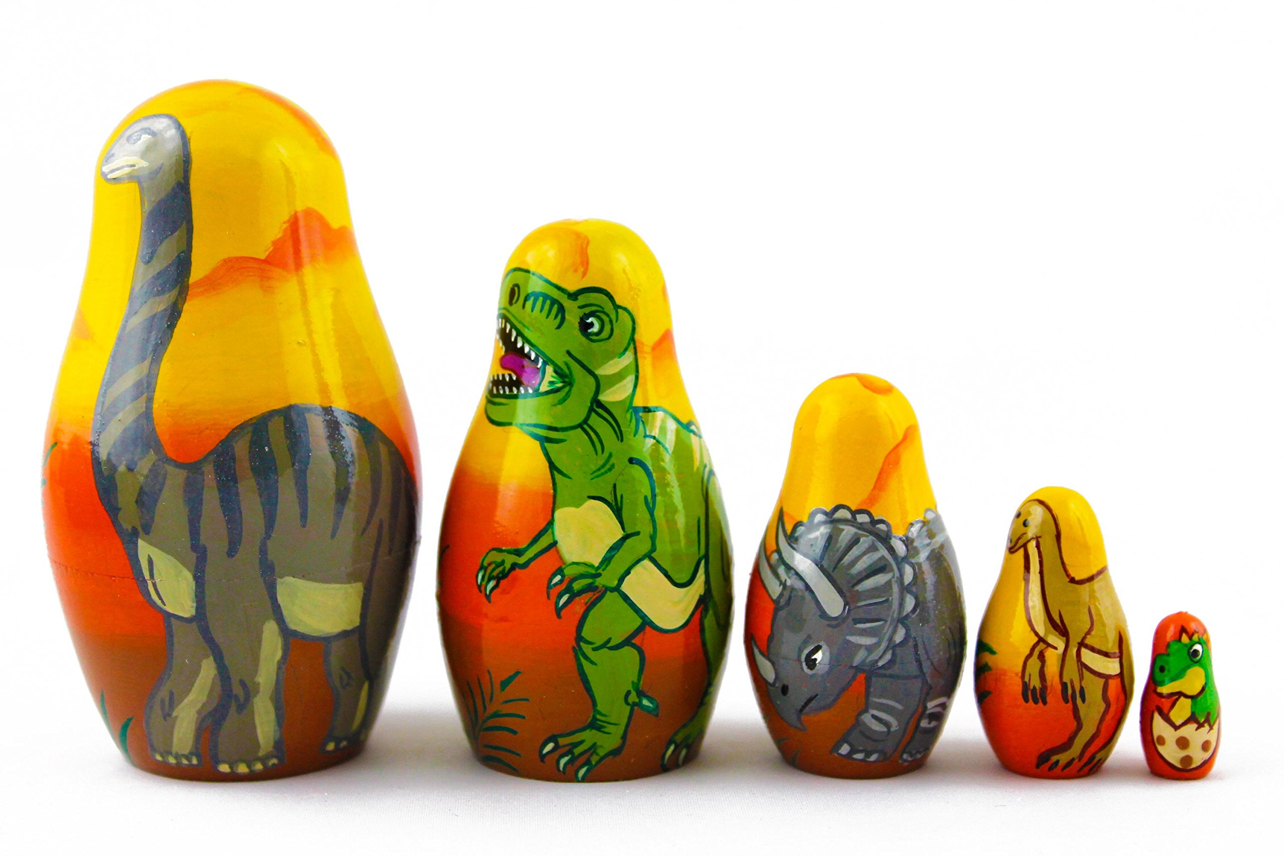 Matryoshka Babushka Russian Nesting Wooden Doll Dinosaurs Prehistoric Epoch Babouska Matrioska Stacking 5 Pcs by MATRYOSHKA&HANDICRAFT