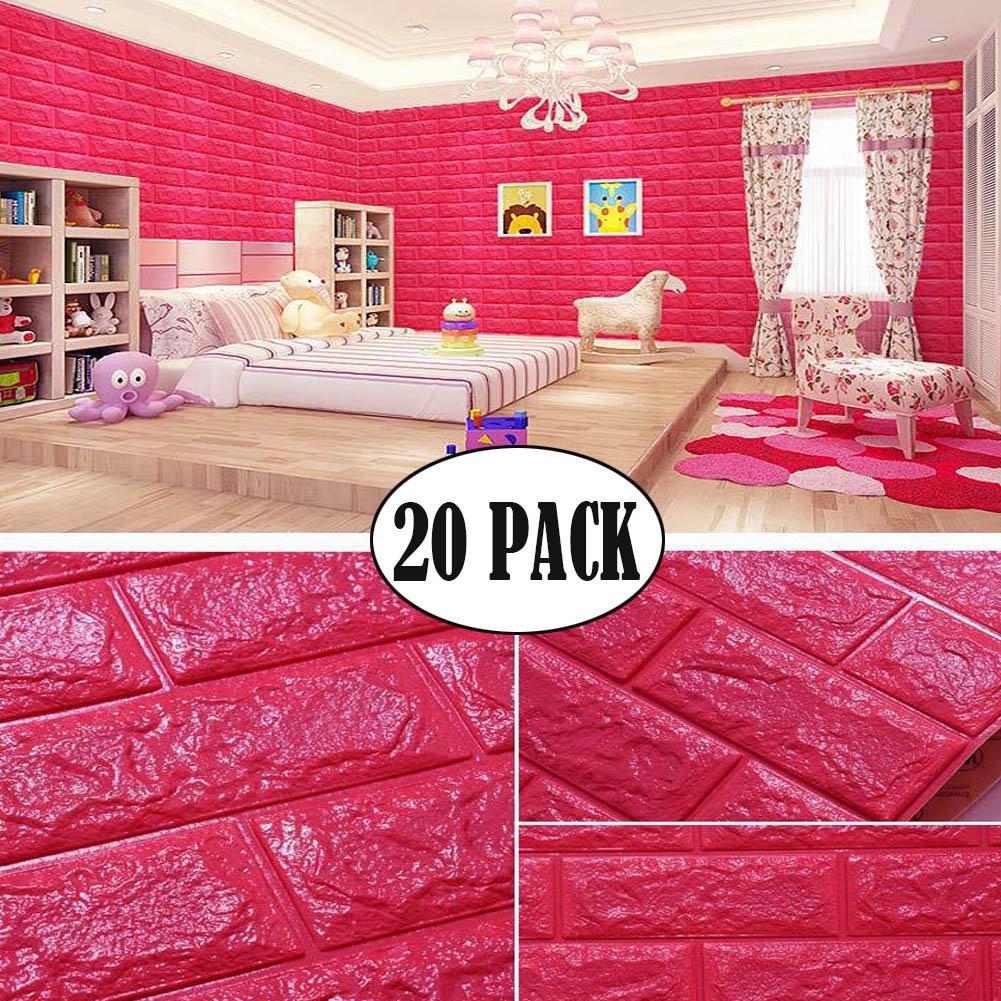 Red Color Foam Wallpaper, 3D Foam Brick Panel Peel And Stick Wallpaper Self-adhesive Removable Wall Decor for TV Background, Kids Children Room, Bedroom, Kindergarten/ 20 PACK