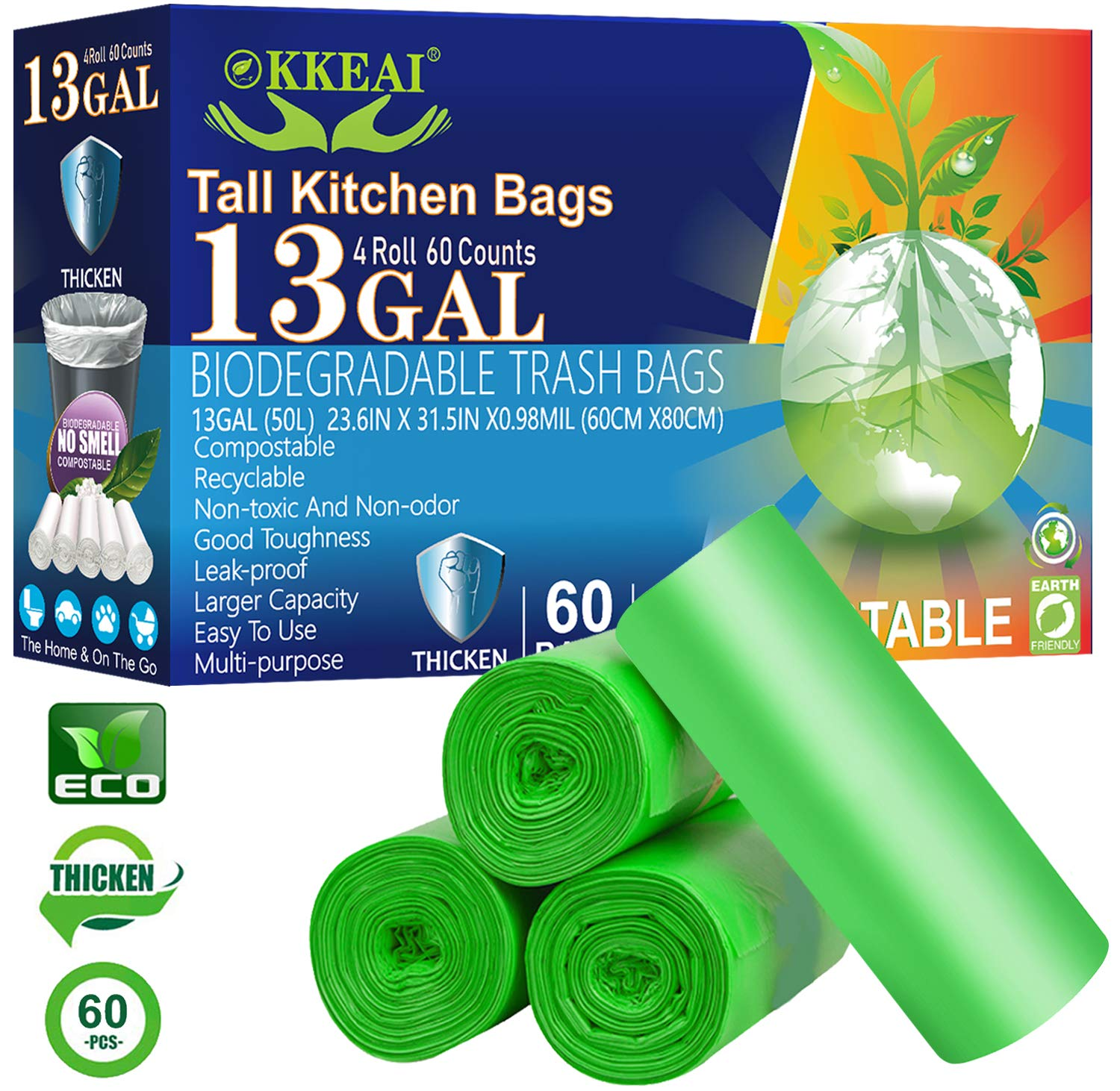 Biodegradable Trash Bags 13 Gallon/49.2 Liter,0.98 Mil Thicken Tall Kitchen Trash Bags Recycling for Lawn Kitchen,Home,Office,Green,60 Counts(Fits 10-15 Gallon Bins)