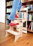 Chaise et Échelle DISPENDO en stil chalet, Chaise de l'escabeau en bois de pin