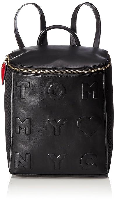 Tommy Hilfiger - Logo Story Backpack, Mochilas Mujer, Schwarz (Black), 16x32x27