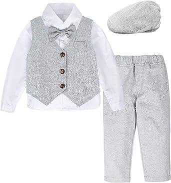 mintgreen Conjunto de Camisa Bebé Niño Manga Larga Chaleco Pajarita Traje Caballero, Trajes de 4 Piezas, Tamaño: 1-4 Años