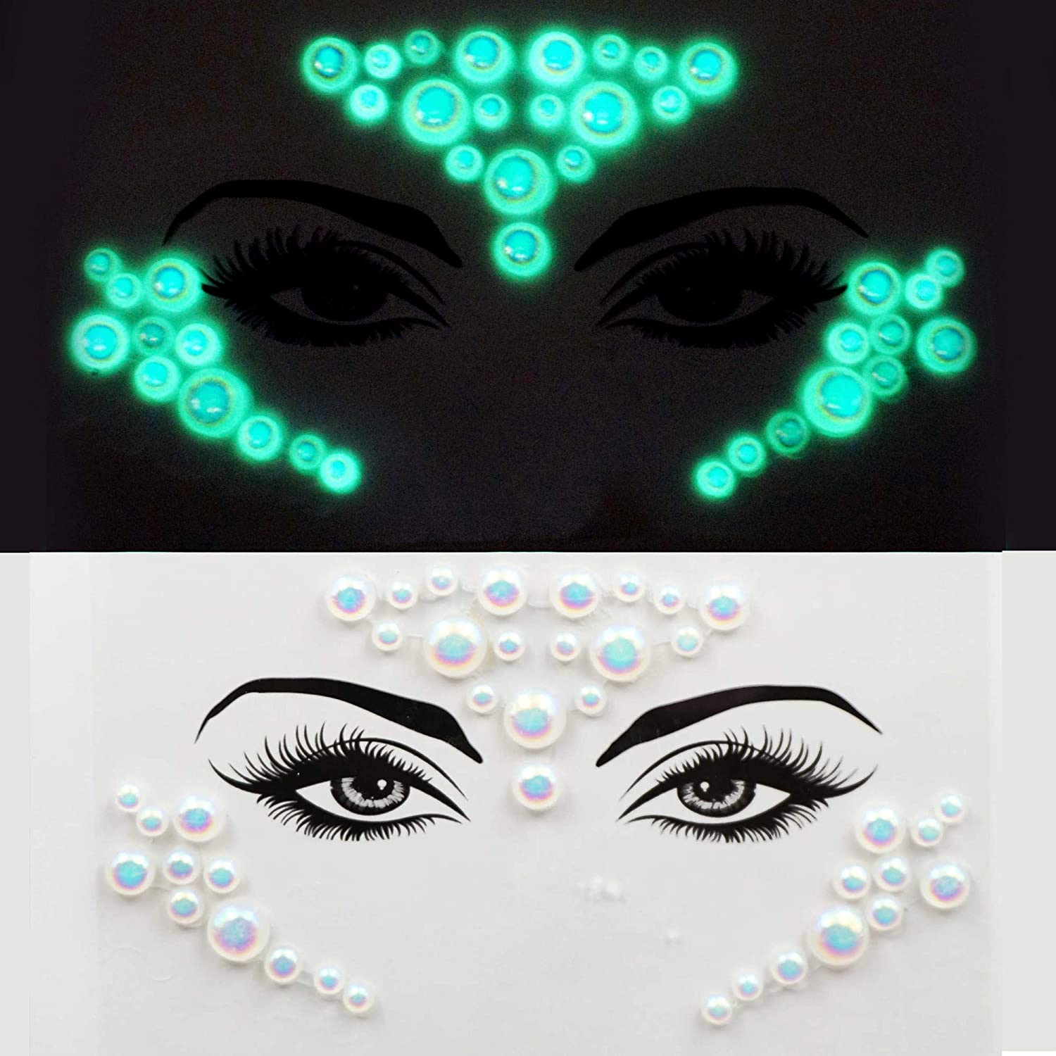 halloween crystal temporary tattoo face gems rhinestone pastie fluorescent body rhinestone jewels for party pride make up beauty wedding (tp320 triangle)