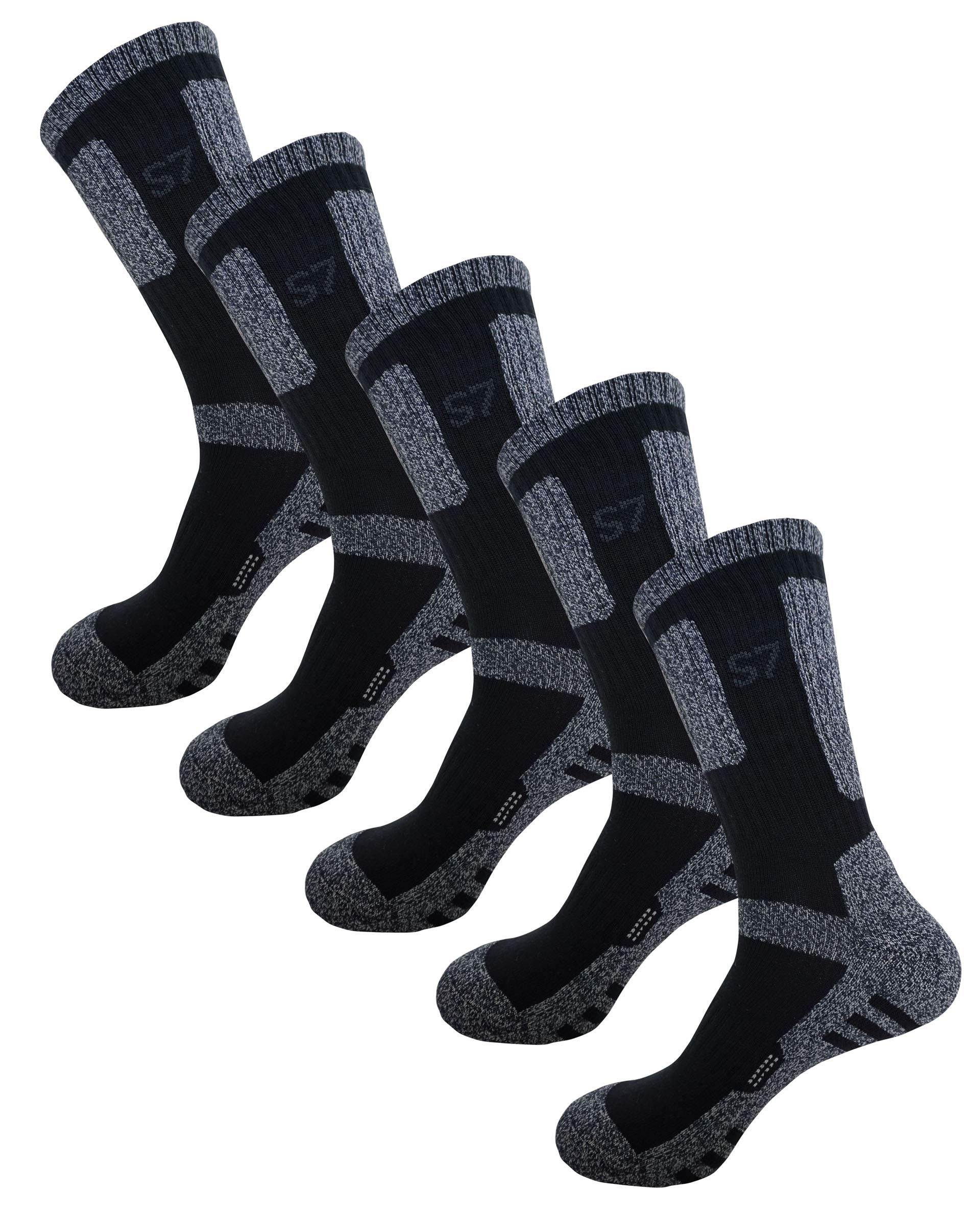 SEOULSTORY7 5Pack Men's Climbing DryCool Cushion Hiking/Performance Crew Socks 5Pair Black XL by SEOULSTORY7