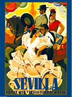 A SLICE IN TIME 1946 Sevilla Seville Spain Europe European Vintage Travel Advertisement Collectible Wall Decor