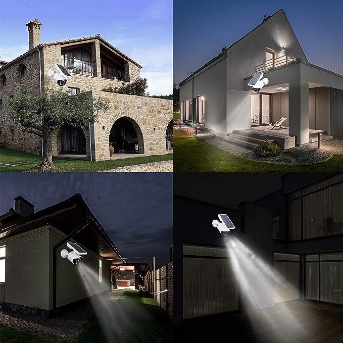 Lámpara solar para exterior, sensor de movimiento, 5 W, LED ...