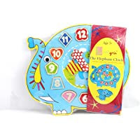 Little grin Wooden Teaching Clock Puzzle with Movable Hands - Educational & Learning Toy, Available Patterns: Snail, Panda, Teddy and Elephant for Children (Elephant)