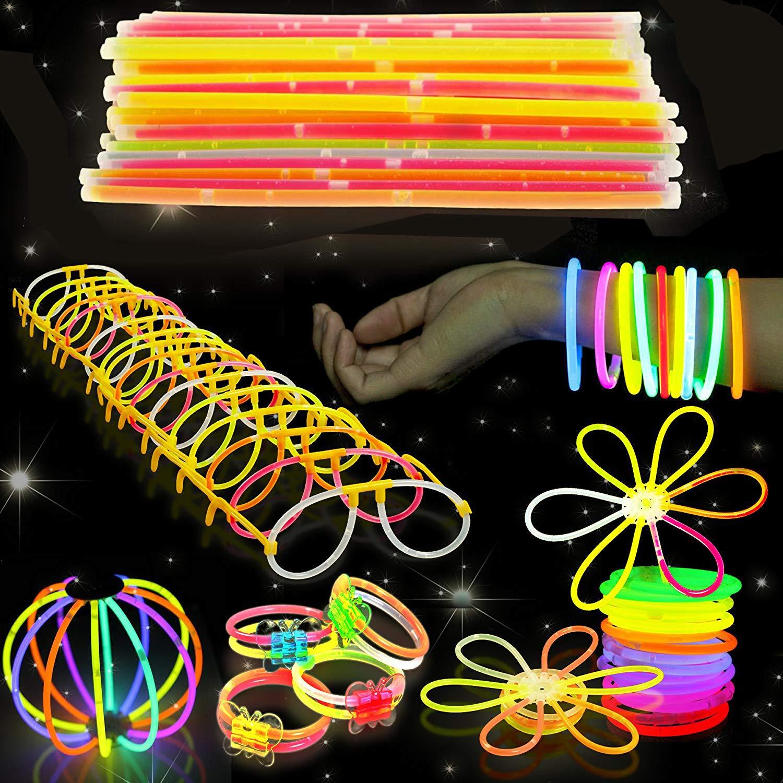 543 Pack - 250 Glow Sticks, Bastoncini Luminosi Fluorescenti, 293 Connettori - Braccialetti, Collane, Occhiali, Fiori - Sicuro e Non Tossico| Bambini, Compleanni, Feste al Neon, Carnevale, Halloween.
