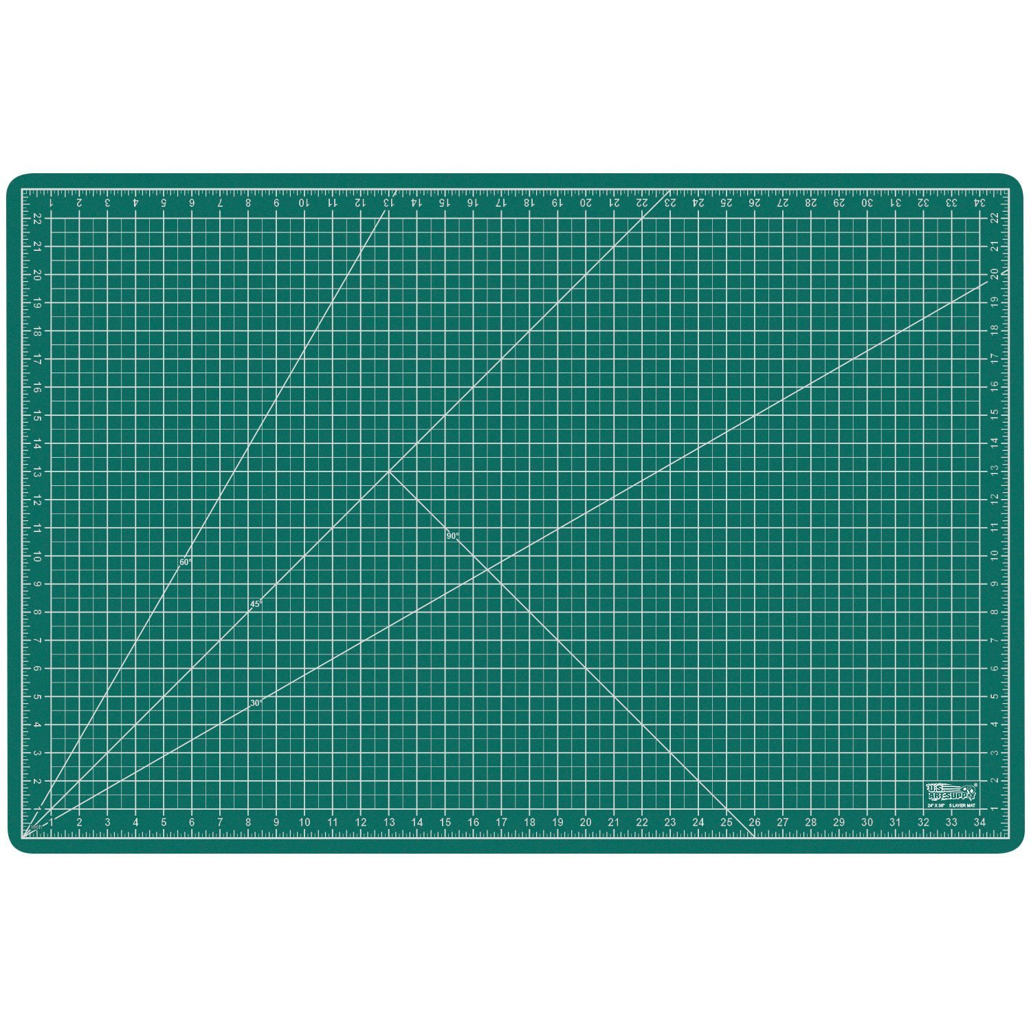 """US Art Supply 24"""" x 36"""" GREEN/BLACK Professional Self Healing 5-Ply Double Sided Durable Non-Slip PVC Cutting Mat Great for Scrapbooking, Quilting, Sewing and all Arts & Crafts Projects"""