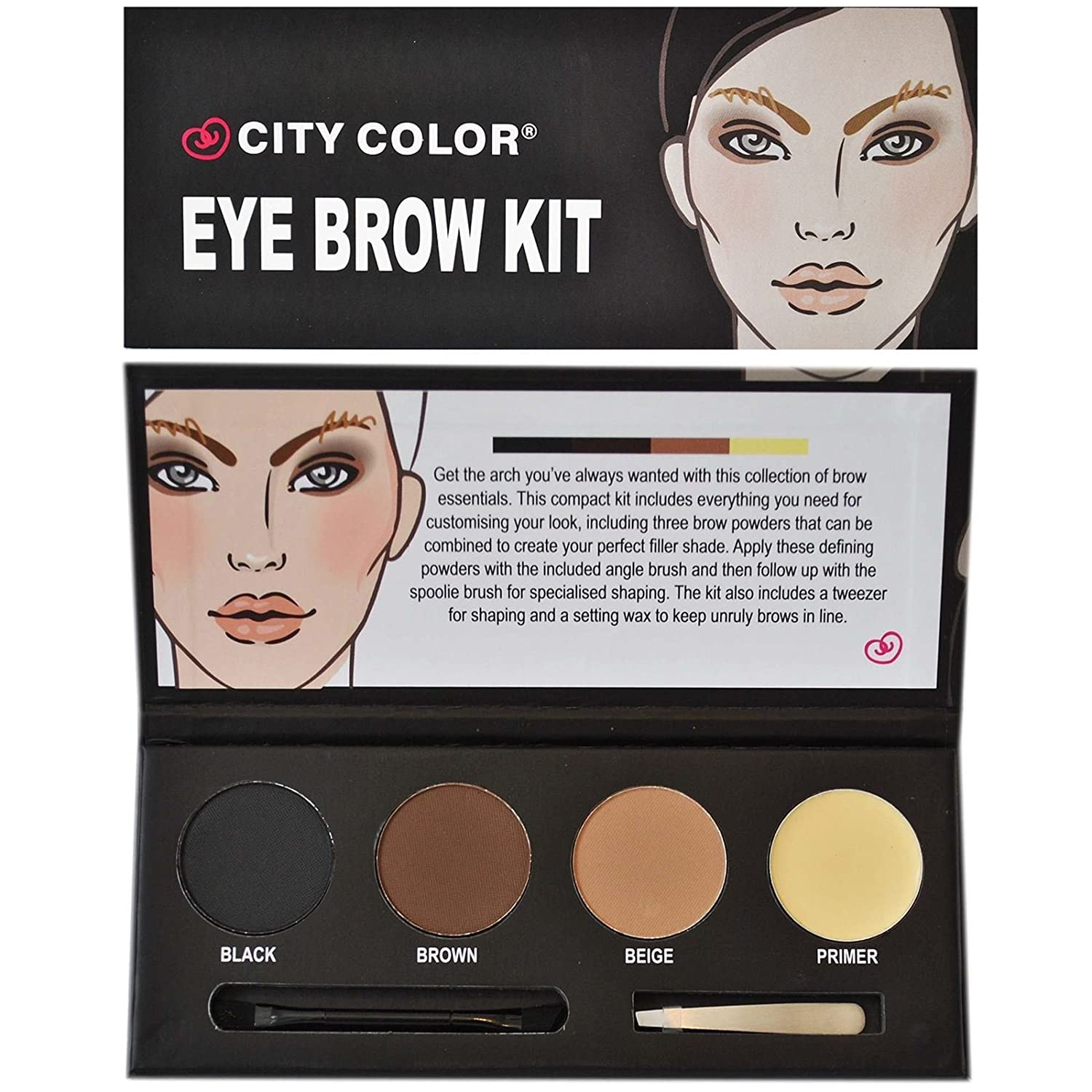 City Color Eye Brow Eyebrow Powder Kit Wax Primer Tweezers Shaper Brush Gift Set by HCL na