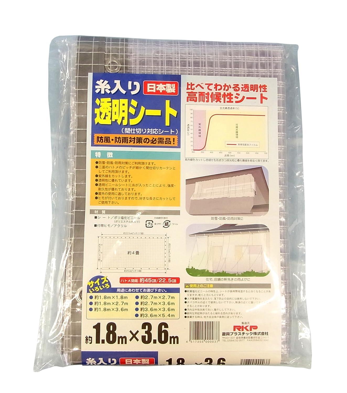 菱興プラスチック 糸入り透明シート (ハトメ穴有りひも付) 約1.8m×3.6m B0055QI3EO