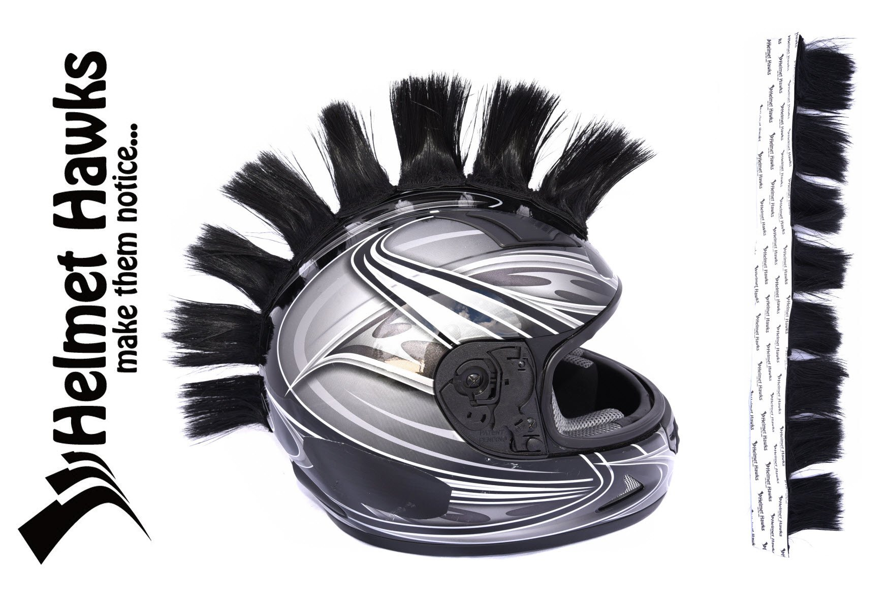 Helmet Hawks Motorcycle Helmet Mohawk w/ Sticky Velcro Adhesive (8) Hair Patches 2'' long x 3'' Tall - Jet Black