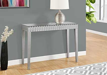 Genial Monarch Console Table, 42u0026quot;, Brushed Silver