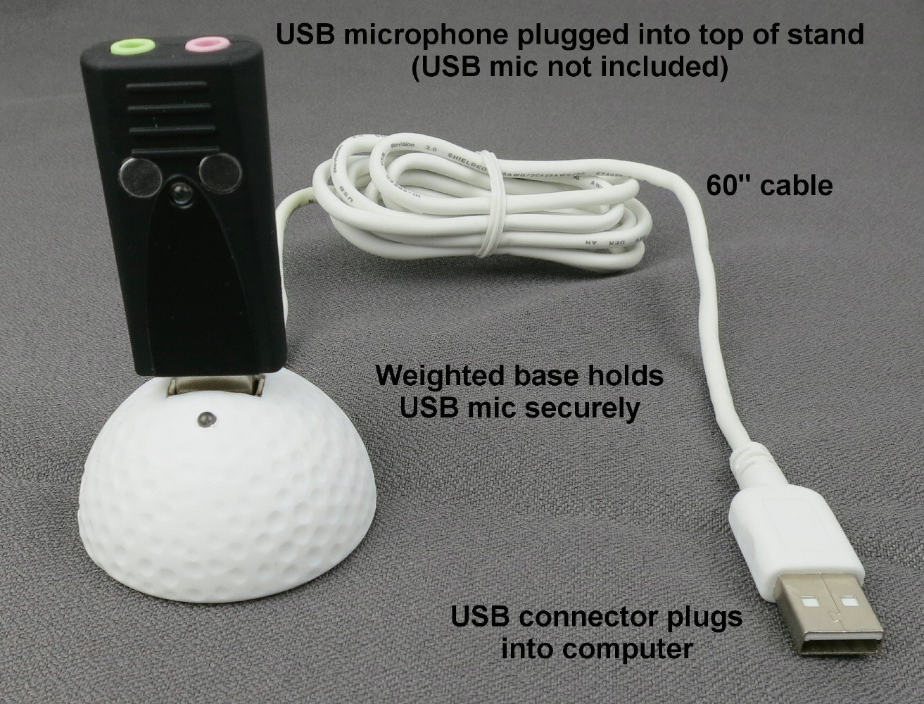 SP-USB-DOCK-BALL - Sound Professionals - Weighted USB Microphone Holder with 5 Foot USB Extension Cable - Black.