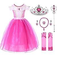 JerrisApparel Niña Princesa Aurora Disfraz Vestir Bella Durmiente