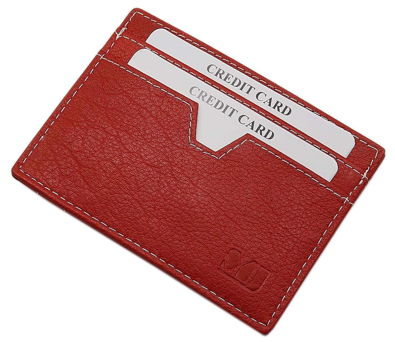 3色のエクストラフラットレザークレジットカードケース(レッド)   B014UU90F6
