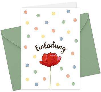 20 Karten U0026 20 Umschläge: Klappkarten Einladungskarten  U0026quot;Mohnblumeu0026quot; DIN A6 Mit Blanko