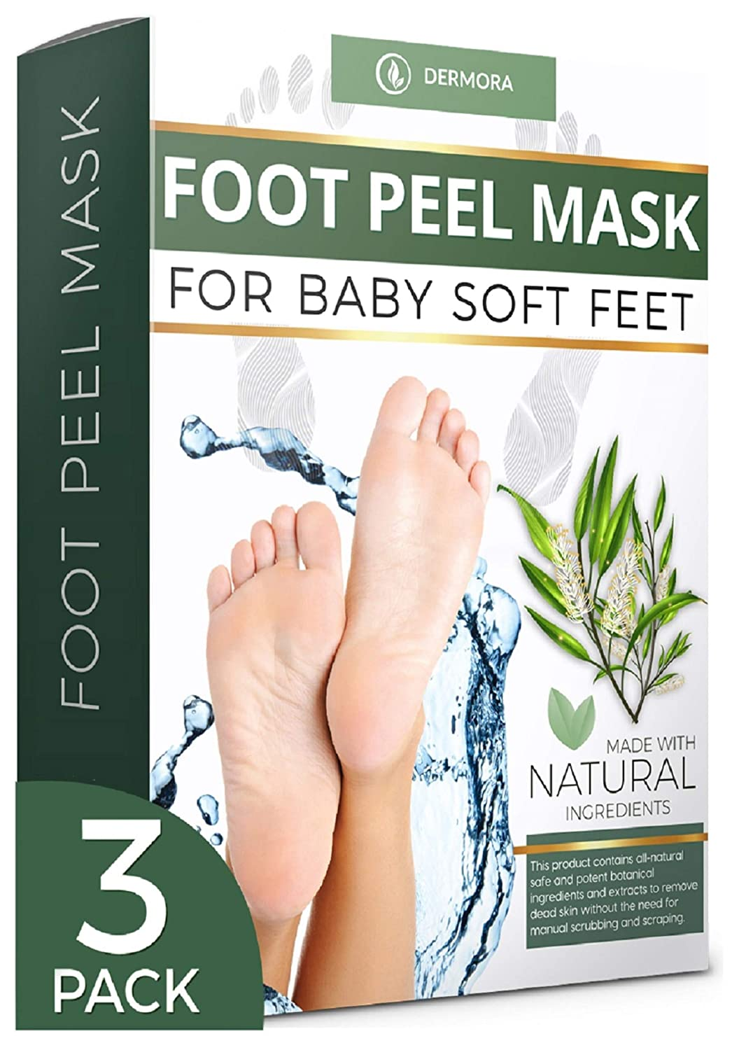 Tea Tree Foot Peel Mask - 3 Pack - For Cracked Heels, Dead Skin and Calluses - Make Your Feet Baby Soft Get Smooth Silky Skin - Removes Rough Heels Dry Skin - Natural Treatment