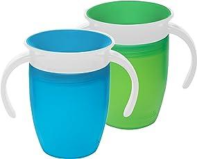 Munchkin Miracle 360 Vaso para niños, 200 ml, 2 unidades Verde/Azul 7 onzas