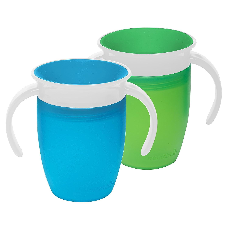 Munchkin Miracle 360 - Vaso de aprendizaje de 207 ml, 2 unidades. Green/Blue Talla:7 Ounce: Amazon.es: Bebé