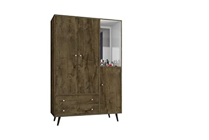 Manhattan Comfort Liberty Collection Mid Century Modern Armoire Closet With  Two Cabinets And Two Drawers With