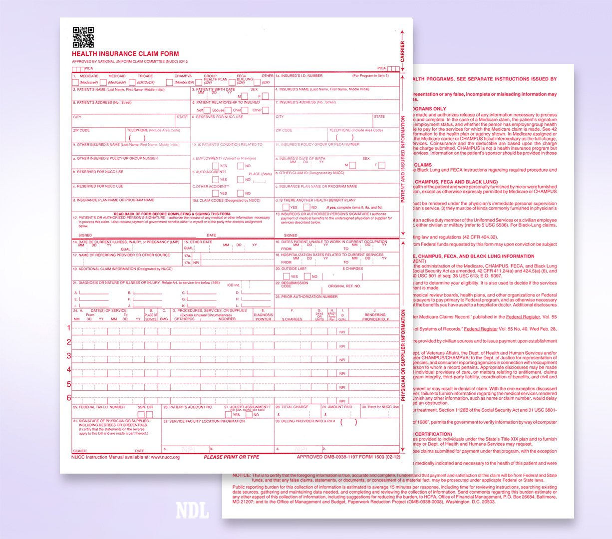 CMS 1500 / HCFA 1500 Insurance Claim Forms - Laser / Ink-Jet Compatible (New Version 02/12) Letter Size 8-12'' x 11'' 500 Sheets Per Ream