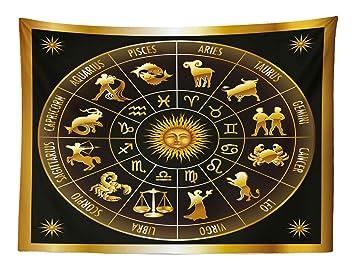 Abakuhaus Astrología Tapiz de Pared y Cubrecama Suave, Rueda del Zodíaco Astrología Signos en Círculo