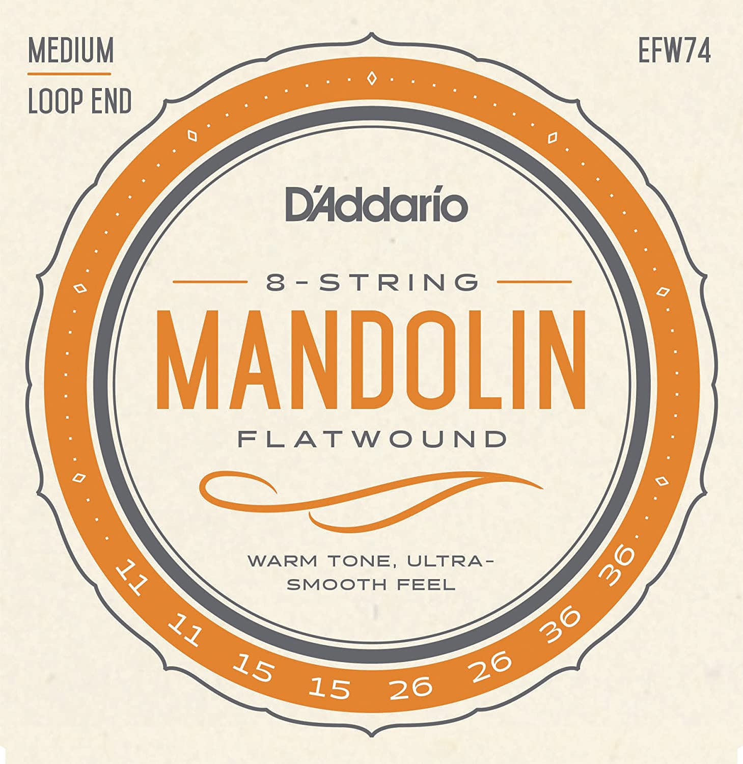 D'Addario EFW74 Phosphor Bronze Flatwound Mandolin Strings, Medium, 11-36 D'Addario &Co. Inc