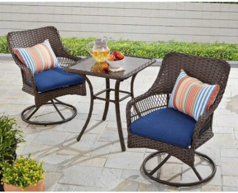 Amazon Com Better Homes And Gardens Colebrook 3 Piece Outdoor Bistro Set Seats 2 Blue Garden Outdoor