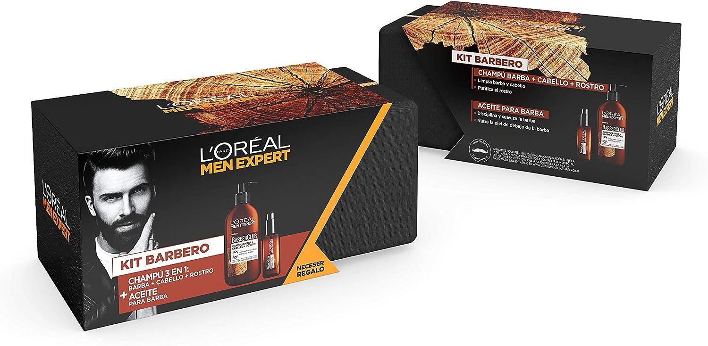 LOréal Men Expert - Kit de Regalo para Hombre, Incluye Champú para Barba, Cabello y Rostro, Aceite para Barba Larga y Neceser de Regalo - Champú 200 ml, Aceite 30 ml: Amazon.es: Belleza