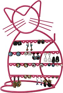 ARAD Cat-Shaped Earring Holder, Jewelry Rack, Display Organizer for Piercings (Pink Finish)
