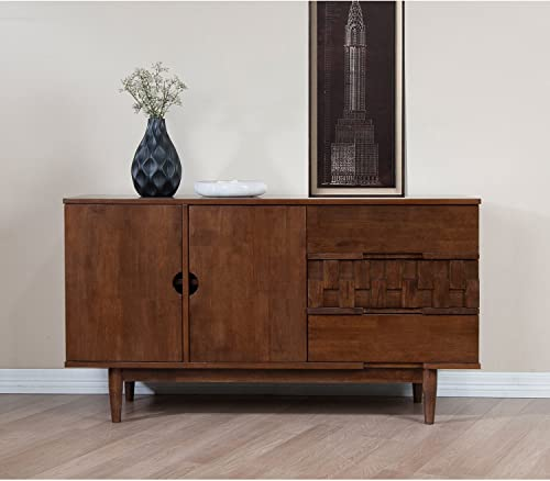 Rubber Wood Tessuto Buffet in Tobacco Finish – Assembly Required 55.1 inches Wide x 17.7 inches Deep x 30.7 inches High 119lbs