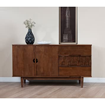 Attrayant Modern Wood Accent Buffet Cabinet With 2 Doors 3 Drawers And Adjustable  Shelves   Includes Modhaus
