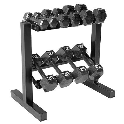 amazon com cap barbell hex dumbbell set with rack 150 lb black