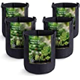 MAXSISUN 5-Pack 2 Gallon Plant Grow Bags, Heavy Duty Thickened Non-Woven Aeration Fabric Pots Container with Reinforced Handl