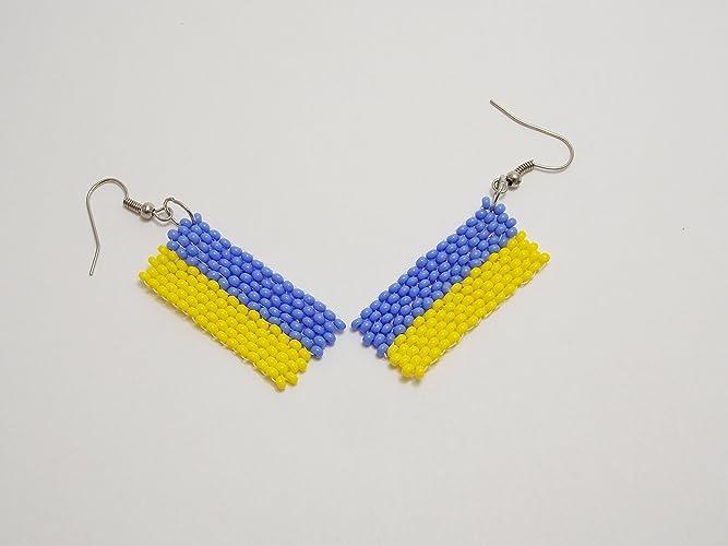 Amazon Ukrainian Earrings Yellow Blue Jewelry Stiped Rhombis