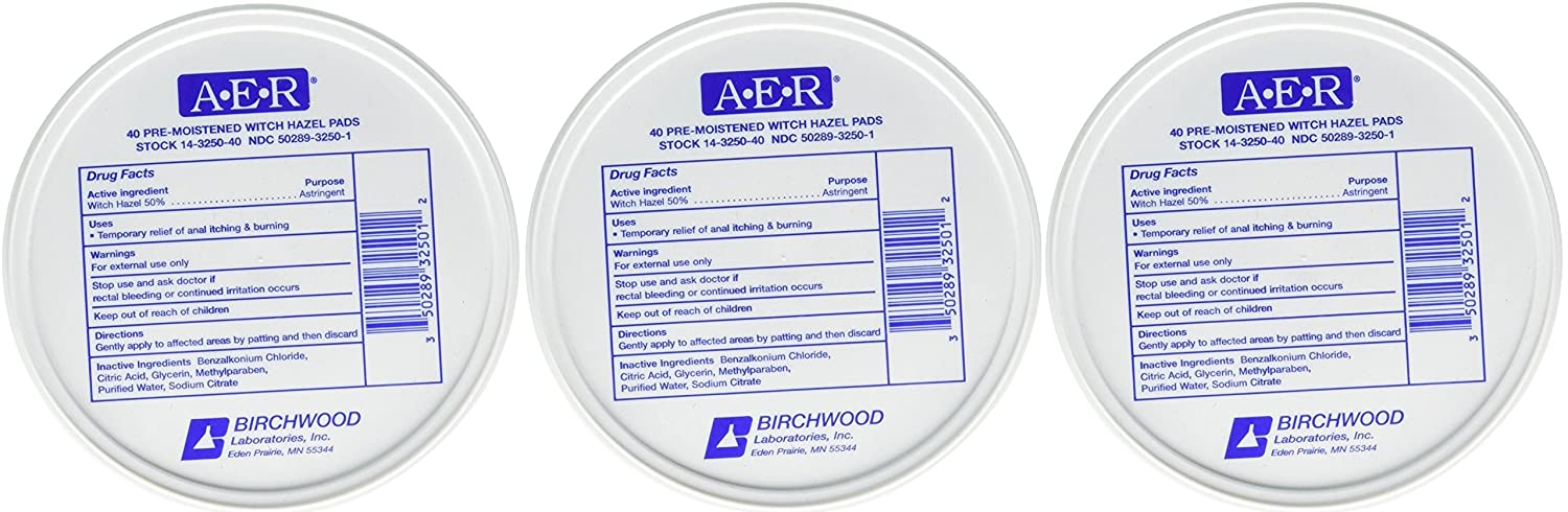 BIRCHWOOD LABORATORIES A-E-R Pre-Moistened Witch Hazel Pads (Set of 3) (120 Count)